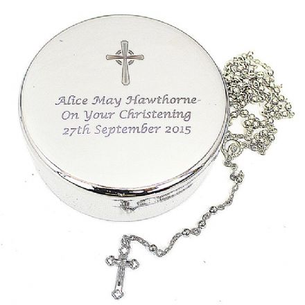 Rosary Beads and Cross Round Trinket Box
